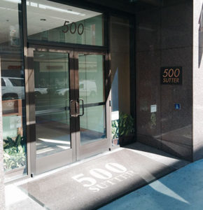Our front door faces Sutter St. just off Powell St.